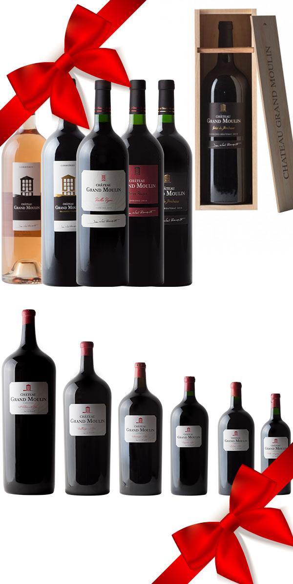 collection vins gros contenants avec coffret cadeau bois